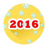 2016 year yellow button with long shadow. Happy new 2016 year yellow button with long shadow, simple icon Royalty Free Stock Photos