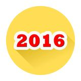 2016 year yellow button with long shadow. Simple button Stock Photo