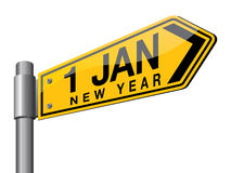 Year 2015. Yellow color new year road sign vector illustration