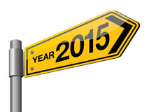 Year 2015. Yellow color year 2015 road sign vector illustration