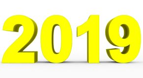 Year 2019 yellow 3d numbers isolated on white. 3d rendering vector illustration