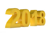 Year yellow design 3d render 2018. On white background Stock Images