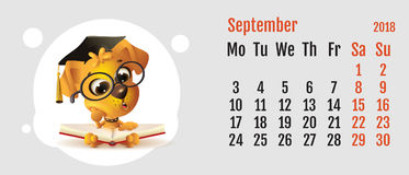 2018 year of yellow dog on Chinese calendar. Fun dog reading book. Calendar grid month September Stock Photography
