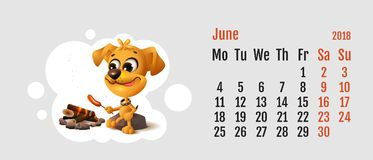2018 year of yellow dog on Chinese calendar. Yellow fun dog fries sausage at fire stake. Calendar grid month June Royalty Free Stock Photos