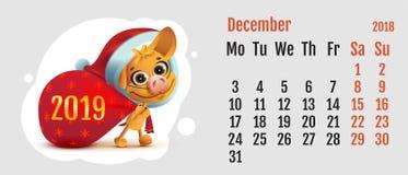 2018 year of yellow dog on Chinese calendar. Fun Santa dog carries bag. Calendar grid month December Royalty Free Stock Photography