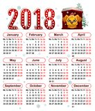 2018 year of yellow dog in Chinese calendar Stock Photos