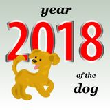 2018 year of the yellow dog in the eastern calendar. A cheerful royalty free illustration