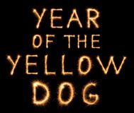YEAR OF THE YELLOW DOG lettering drawn with bengali sparkles royalty free stock photos