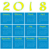 2018 - Year of a Yellow Dog. Monthly calendar of 2018 Year. Year of a Dog Royalty Free Stock Images