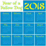 2018 - Year of a Yellow Dog. Monthly calendar of 2018 Year. Year of a Dog Stock Images
