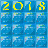 2018 - Year of a Yellow Dog. Monthly calendar of 2018 Year. Year of a Dog Royalty Free Stock Photography