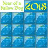 2018 - Year of a Yellow Dog. Monthly calendar of 2018 Year. Year of a Dog Stock Photography