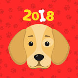 The year 2018 is a yellow earth dog. A lovely cartoon dog looks. Cartoon figures. Red pattern from the tracks. Cover for the calen. Happy New Year. The year 2018 Stock Photos