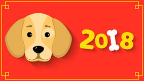 The year 2018 is a yellow earth dog. A lovely cartoon dog looks. Cartoon figures with a shadow. Red background with yellow pattern Royalty Free Stock Images