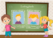 Yearbook with boy , girl and chalkboard for two persons Stock Image