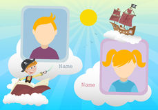 Yearbook about boy pirate and clouds with two kids. Vector royalty free illustration