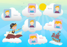 Yearbook about boy pirate and clouds. Vector stock illustration