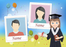 Yearbook with graduate schoolgirl and two photos Royalty Free Stock Images