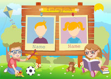 Yearbook for kindergarten with kids and two. Pictures vector vector illustration