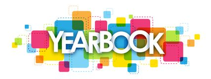 YEARBOOK letters banner. YEARBOOK overlapping letters banner on colorful squares background vector illustration