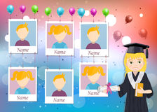 Yearbook for school with graduate girl and six photos Royalty Free Stock Photos