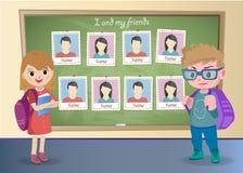 Yearbook for school about schoolgirl and schoolboy Stock Images