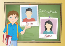 Yearbook about schoolboy and chalkboard. School Yearbook about schoolboy and chalkboard vector Stock Photo