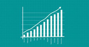 Yearly business graph showing business growth. Animated business success presentation.