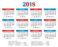2018 yearly calendar. American colors. Federal holidays, moon and numbers of weeks Royalty Free Stock Photo