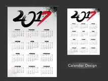 Yearly Calendar design of 2017. Yearly Calendar design for Happy New Year 2017 celebration Stock Photography
