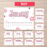 Yearly Calendar design for 2017. New Year 2017 Calendar design with 12 months template set Royalty Free Stock Image