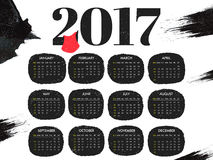 Yearly Calendar design for 2017. New Year 2017 Calendar design with 12 months template set Stock Photos