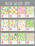 Yearly Calendar design for New Year 2017. New Year 2017 Yearly Calendar design, Set of 12 months template with colorful hand drawn elements Royalty Free Stock Photos