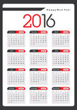 2016 Yearly Calendar Royalty Free Stock Photo
