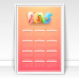 Yearly 2015 calendar for Happy New Year celebration. Royalty Free Stock Photo