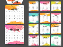 2016 Yearly Calendar for New Year celebration. Annual Calendar of 2016 with colorful splash for Happy New Year celebration Stock Photo
