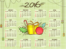 2016 Yearly Calendar for New Year celebration. Creative 2016 Yearly Calendar with Christmas ornaments for Happy New Year celebration Royalty Free Stock Photos