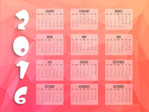 2016 Yearly Calendar for New Year celebration. Royalty Free Stock Photography