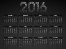 2016 Yearly Calendar for New Year celebration. Stock Photography