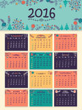 2016 Yearly Calendar for New Year. Colorful creative flowers decorated Annual Calendar of 2016 for Happy New Year celebration Stock Images