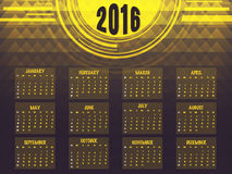 Yearly Calendar of 2016 for New Year. Royalty Free Stock Photo