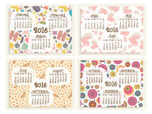 Yearly Calendar set for Happy New Year 2016. Creative Yearly Calendar design of 2016 with colorful elements for Happy New Year celebration stock illustration