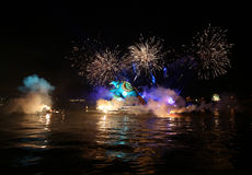 Yearly Great Dragons Parade. Connected with the fireworks display, taking place on the river Vistula at Wawel. Cracow , Poland Stock Photography