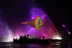 Yearly Great Dragons Parade. KRAKOW, POLAND - MAY 30, 2014: Yearly Great Dragons Parade connected with the fireworks display, taking place {happening} on the Stock Images