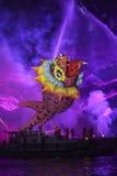 Yearly Great Dragons Parade. KRAKOW, POLAND - MAY 30, 2015: Yearly Great Dragons Parade connected with the fireworks display, taking place on the river Vistula Stock Photos