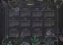 Yearly retro calendar blackboard background with floral border. 2017 yearly retro calendar on the blackboard background with colorful floral border royalty free illustration