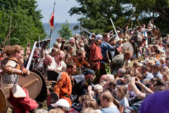 Yearly Viking Moot at Moesgaard. Aarhus, Denmark - JULY 26. Vikings attacking the audience at the yearly viking moot july 26, 2009 in Aarhus, Denmark. The worlds Stock Photos