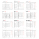 Yearly Wall Calendar Planner Template for 2017 Year. Vector Design Print Template. Week Starts Monday Stock Photography