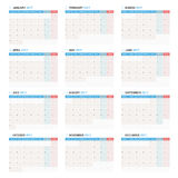 Yearly Wall Calendar Planner Template for 2017 Year. Week Starts Monday. Royalty Free Stock Photography