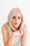 Yearning lonely woman in depression Royalty Free Stock Photo